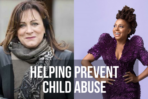 Singers Mary Black and Ledisi, with headline 'helping prevent child abuse'