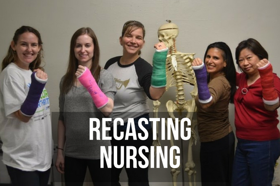A group of orthopedic nurses holding up their arms in casts with headline 'recasting nursing'