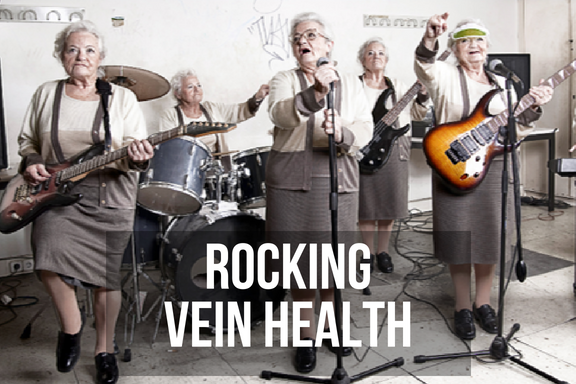 A group of grannies in a rock band with headline 'rocking vein health'